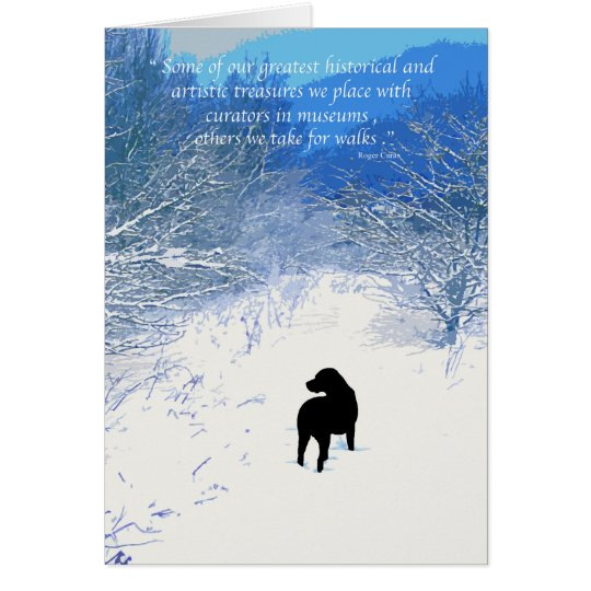 Black Labrador - Winter Path Card
