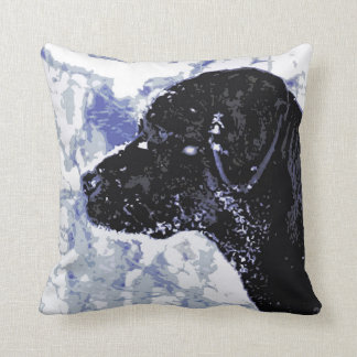Black Labrador - Winter Wonderland Throw Pillow