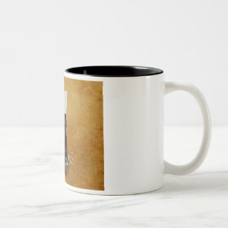 Black labrador with a bone in mouth. Two-Tone coffee mug