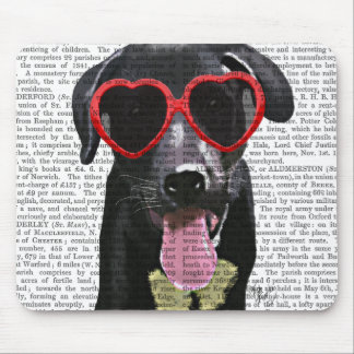 Black Labrador With Heart Sunglasses Mouse Pad