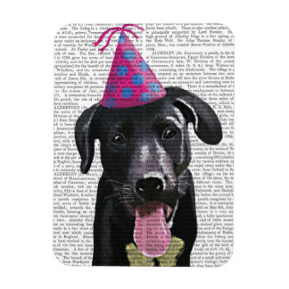 Black Labrador With Party Hat Rectangular Photo Magnet