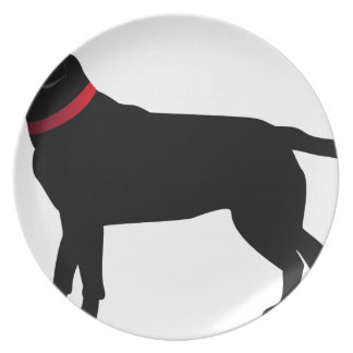 Black Labrador with Red Collar Plate
