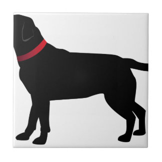 Black Labrador with Red Collar Tile