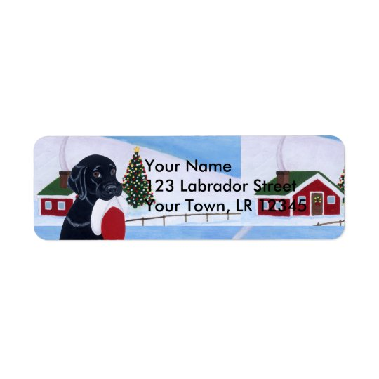 Black Labrador with Santa Hat Snow Land
