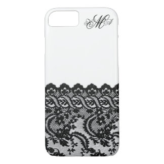 Black lace and monogram initials custom damask chi iPhone 8/7 case