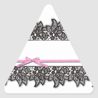 Black Lace and Pink Ribbon Triangle Sticker
