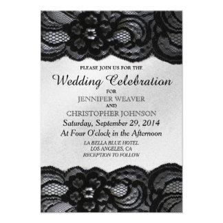 Black Lace and White Satin Wedding Invitations
