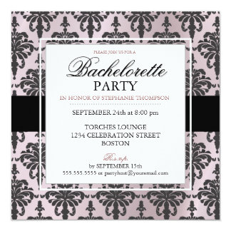 Black Lace Bachelorette Party Invitations in Blush