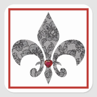 Black Lace Fleur De Lis Square Sticker