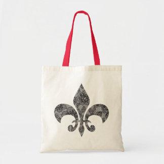 Black Lace Fleur De Lis Tote Bag