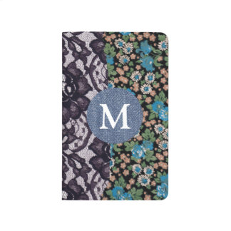 Black Lace Floral Fabric Denim Monogram Journals