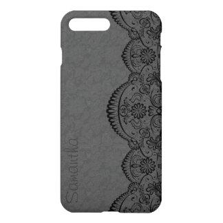 Black Lace Gray Damasks iPhone 7 Plus Case