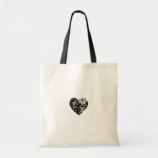 Black Lace-like / metalwork-like Heart pattern Budget Tote Bag