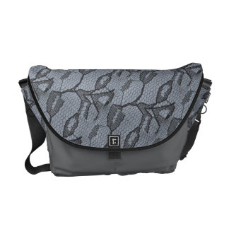 Black Lace Look Messenger Bag