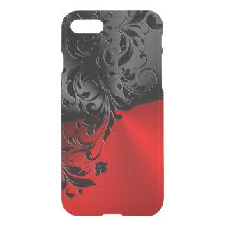 Black Lace & Metallic Black & Red Geometric Design iPhone 7 Case
