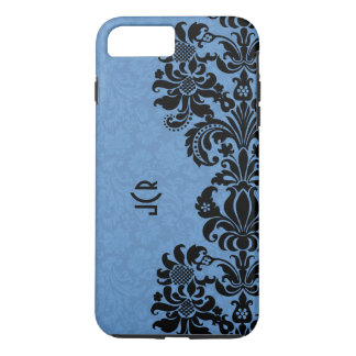 Black Lace On Blue Background iPhone 7 Plus Case
