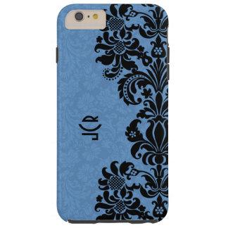 Black Lace On Blue Background Tough iPhone 6 Plus Case
