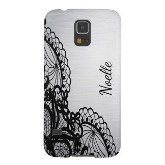 Black lace on Silver with Custom Name Cases For Galaxy S5