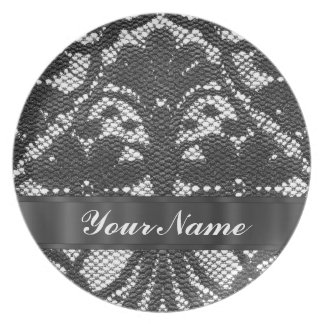 Black lace personalized plate
