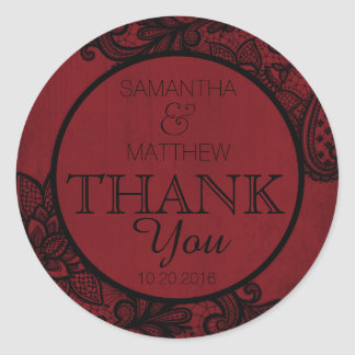 Black Lace Red Modern Goth Thank You Label
