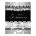 """Black Lace & Silver Pearl Bow 25th Anniversary 4.25"""" X 5.5"""" Invitation Card"""