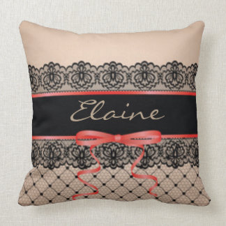 Black Lace Tan Red Ribbon Throw Pillow