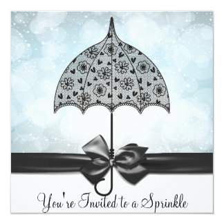 "Black Lace Umbrella Blue Baby Sprinkle Baby Shower 5.25"" Square Invitation Card"