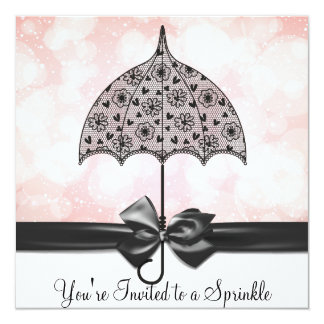 "Black Lace Umbrella Pink Baby Sprinkle Baby Shower 5.25"" Square Invitation Card"