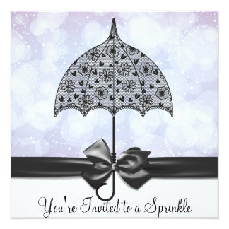 "Black Lace Umbrella Purple Baby Sprinkle   Shower 5.25"" Square Invitation Card"