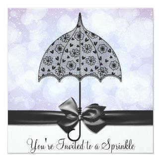 Black Lace Umbrella Purple Baby Sprinkle   Shower Custom Invites