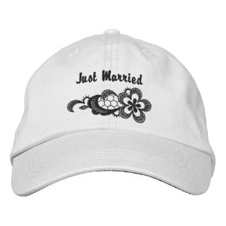 Black Lace Wedding - Just Married Hat Embroidered Hat