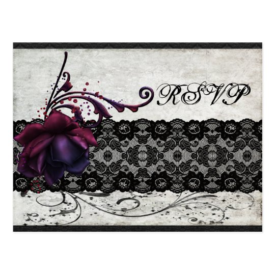 Black Lace Wedding RSVP Postcard