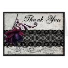 Black Lace Wedding Thank You Card