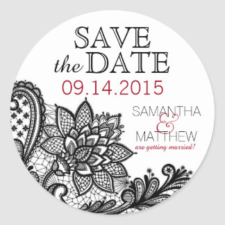 Black Lace White Modern Goth Save the Date Label