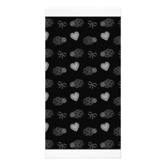 Black ladybugs hearts bows pattern picture card