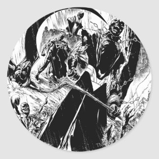 Black Lantern Corps Panel - Black and White Round Sticker