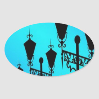 Black lanterns vectors design oval sticker