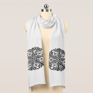 Black Large Design, White Jersey Scarf