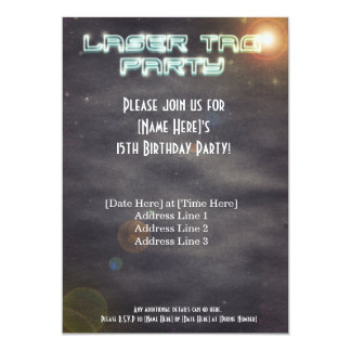 Black Laser Tag Party Invite