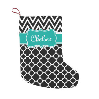 Black Lattice / Chevron Patterns Teal Name Small Christmas Stocking