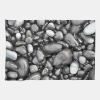 Black lava pebbles pattern kitchen towel
