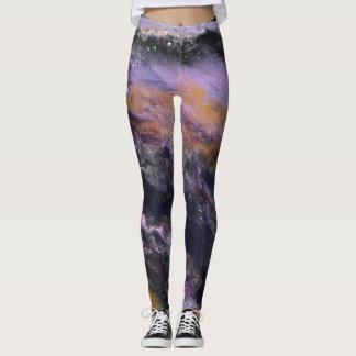 "Black, Lavender & Peach Leggings - ""Galaxy"""