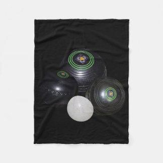 Black Lawn Bowls And Kitty On Black, Fleece Blanket