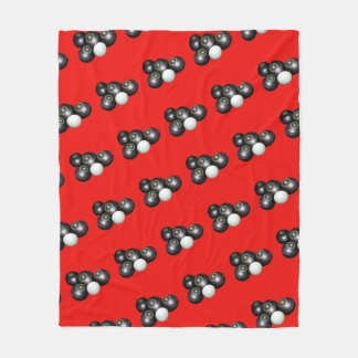 Black Lawn Bowls And Kitty On Red, Fleece Blanket