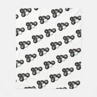 Black Lawn Bowls And Kitty On White, Fleece Blanket