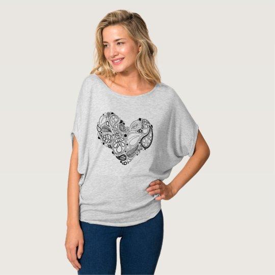 Black Leaf Heart Mandala T-Shirt
