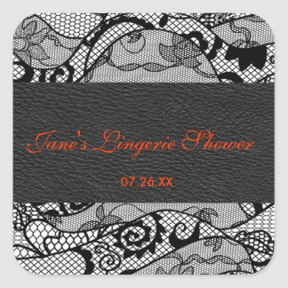Black leather and lace square sticker label