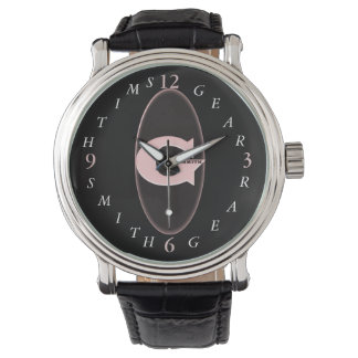 Black Leather Band Men's Watch