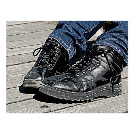 Black Leather Boots and Blue Jean Denim Postcard