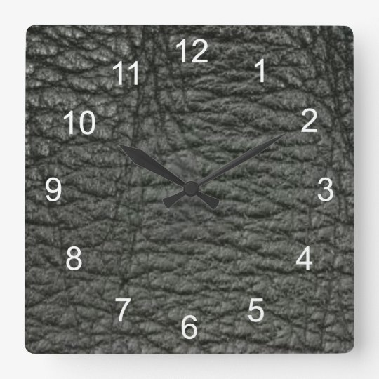 Black Leather Effect Clock